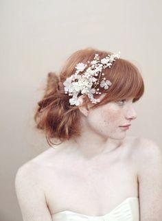 Bridal headband, silk flower headpiece, crystals - Cherry blossom and crystal headband - Style - 356