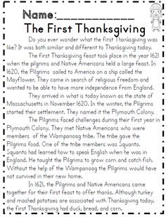 The first Thanksgiving reading passage part of common core 2nd grade