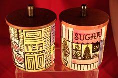 Jie Gantofta Sugar & Tea  jars designed by Anita Nylund - Sweden vg condition #Sugarstorage