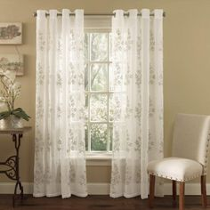 White Lombard Semi Sheer Grommet Top Curtain Panel By Lorraine Home Fashions -- You can find out more details at the link of the image-affiliate link. #WindowTreatments