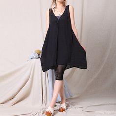 Black sundress V neck sleeveless dress oversize summer dress