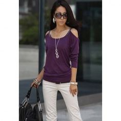 $6.85 Scoop Neckline Solid Color Simple Slimming Style Off-the-Shoulder Long sleeve Cotton T-Shirt For Women