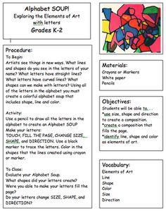 More Letter Scramble Lessons - Art Sub Lessons: Alphabet Soup. Kindergarten Art Lessons, Art Lessons Elementary, School Lessons, Elementary Schools, Kindergarten Shapes, Art Substitute Plans, Art Sub Plans, Art Sub Lessons, Art Doodle