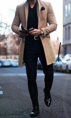 Fashion Lapel Collar Plain Button Packets Long Coat Fashion Reverskragen Plain Button Packets Langer Mantel - Vejaco Source by . Big Men Fashion, Mens Fashion Suits, Classy Mens Fashion, Mens Suits Style, Style Men, Men's Fashion, Fashion Boots, Fashion Trends, Men's Style
