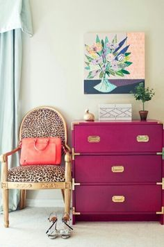 Leopard Chair and pop of fuchsia