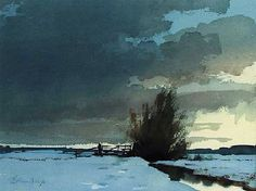 Edward Seago (1910 - 1974, UK) A Marsh Dyke, Winter. watercolour (26.7 х 36.8 cm.) #watercolor jd