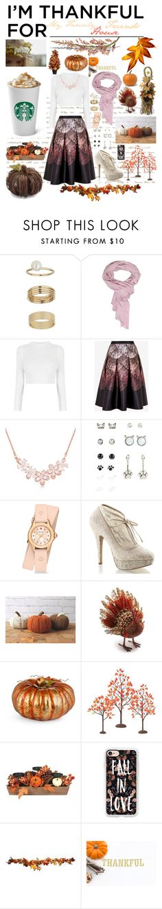 """""""What I Am Thankful For"""" by kykyfaith ❤ liked on Polyvore featuring Miss Selfridge, Versace, Ted Baker, Michele, Pinup Couture, Sur La Table, Improvements, Department 56, Casetify and imthankfulfor"""