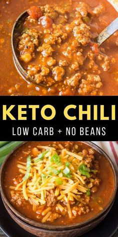 This hearty keto chili features tons of meat, peppers, spices and tomatoes! At just net carbs per serving this low carb, no bean chili will a family favorite! # low carb chili recipe Easy Keto Chili (low carb + no bean chili) - Maebells Best Low Carb Recipes, Low Carb Dinner Recipes, Keto Dinner, Favorite Recipes, Fodmap Recipes, Low Carb Crockpot Recipes, Paleo Meals, Paleo Food, Veggie Food