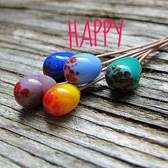 Colored glass beads headpins