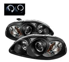 Honda Civic 1999-2001 3 Door Hatchback & 2 Door Coupe Black Angel Eye Projector Headlights with White LED Lit Halo Rings