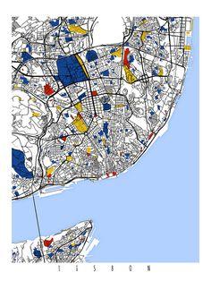 Lisbon Map Art / Lisbon Portugal Wall Art / por MondrianMapArt