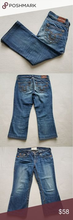 Big Star Liv Crop W/Omega Pocket SZ 30 Great Condition Factory Embellished Fading/Whiskering/Distressing  Heavy Stitching & Omega Pocket  These Have Been Professionally Hemmed with Original No Cut Hem Posh does not allow returns for size so Please ask all questions prior to purchase.  Thank you for looking! Big Star Jeans Ankle & Cropped