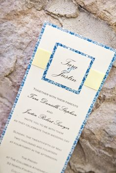 Blue Lace Detail layered Wedding Invitation with tag.