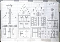 Paper Embroidery Patterns Dutch Canal Houses Embroidery pattern on graph paper - jewish crafts, jewish living, jewish cooking and lots Graph Paper, Pattern Paper, Paper Embroidery, Embroidery Patterns, Art Et Illustration, Illustrations, Gingerbread House Template, Gingerbread House Patterns, Travel Wall Decor