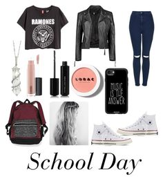 """""""School Outfit"""" by starliejackson ❤ liked on Polyvore featuring Topshop, LORAC, Casetify, Boohoo, Sharon Khazzam, MAC Cosmetics, Marc Jacobs, Victoria's Secret and Converse"""
