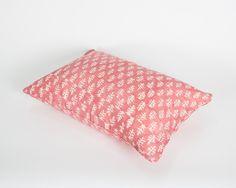 Hand Block Printed Cushion - Pink Sprig