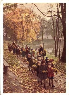Photo by A. Stanovov, 1963....Leaf gathering photo from 1963