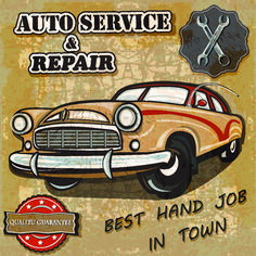 Retro auto service and repair poster
