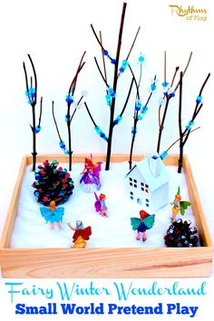 This fairy winter wonderland small worlds is simple to put together and provides unlimited hours of pretend play. It is also wonderful for developing fine motor skills, the sensory system, and literary skills. Make one with your child today!