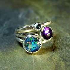 Sterling Silver Stacking Rings, Opal, Amethyst, Blue Topaz