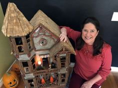 My Haunted Dollhouse Tour. I used Mod Podge to attach all my wallpaper and flooring. Haunted Dollhouse, Haunted Dolls, Diy Dollhouse, Dollhouse Miniatures, Haunted Houses, Dollhouse Interiors, Halloween Window, Halloween Doll, Holidays Halloween