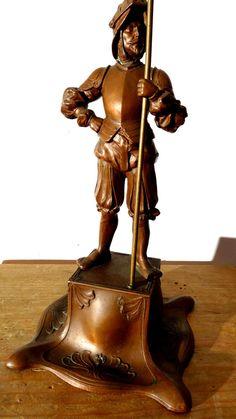 Bronze oder Kupfer Figur eines Schwedischen Söldners mit Standarte.