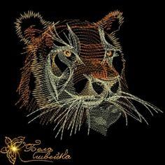 """""""тигр"""" дизайн для трикотажа животные http://beloshveyka.net/dizajny-mashinnoj-vyshivki #beloshveyka #embroidery #designs"""