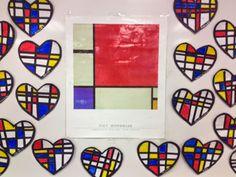 Mondrian Style Hearts