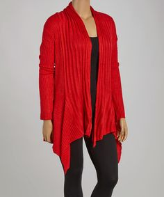 Take a look at this C.O.C. Red Open Cardigan - Plus on zulily today!