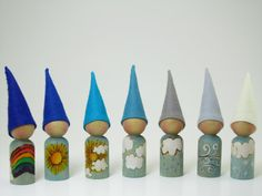 Set of 7 Weather gnomes, wooden peg dolls, handmade children's toy, Waldorf toy, Nature Table, Montessori toy,  Wool felt toy