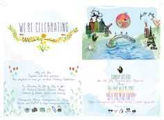 The four sides of the invite that were printed separately and tied with a ribbon