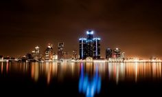 Night city lights reflection in water hd wallpaper Free Wallpaper Backgrounds, Background Images Wallpapers, Widescreen Wallpaper, City Lights At Night, Night City, Detroit Skyline, Seattle Skyline, Water Reflections, Light Reflection