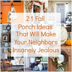21 Fall Porch Ideas That Will Make Your Neighbors Insanely Jealous - - Want to inspire major envy in your 'hood? Try one of these simple front porch ideas to totally win at autumn. Autumn Decorating, Porch Decorating, Decorating Ideas, Fall Home Decor, Autumn Home, Fall Yard Decor, Diy Autumn, Autumn Art, Thanksgiving Decorations