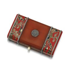 Enamel, amber and diamond vanity case, Lacloche Frères, 1920s