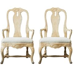 Pair of 18th Century Swedish Rococo Armchairs | From a unique collection of antique and modern armchairs at https://www.1stdibs.com/furniture/seating/armchairs/