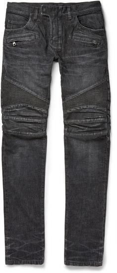 $1,455, Balmain Regular Fit Washed Denim Biker Jeans. Sold by MR PORTER. Click for more info: https://lookastic.com/men/shop_items/299625/redirect