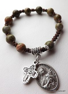 Unakite and Brown Rosary Bracelet St Therese by AmyDavisArt