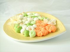 OOAK Wood centerpiece white peach green fabric flowers by mapano, $48.00