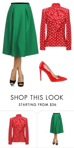 Vintage Red & Green Office Set by apostolicclothing on Polyvore featuring Yvonne and vintage