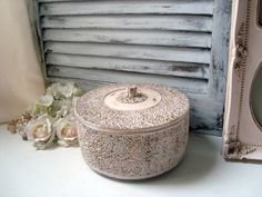Pink Ornate Vintage Storage Box with Lid by WillowsEndCottage