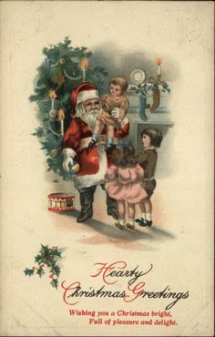 Christmas Santa Claus w Children Tree Fireplace c1910 Postcard