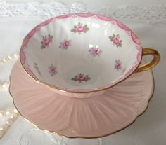 Pink Shelley Oleander Tea Cup & Saucer by NicerThanNewVintage on Etsy https://www.etsy.com/listing/232375574/pink-shelley-oleander-tea-cup-saucer