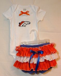 An outfit for the smallest Bronco's fan in the family!!  Cute with just enough frill.  Matching accessories available