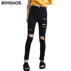 e3225ba9193 Fashion Women s High Waist Torn Jeans Casual Hole Knee Skinny Denim Pencil  Pants Black Ripped Jeans Leggings