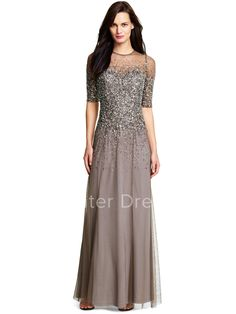 $120.19-Eelgant Long Chocolate Sequined Bridesmaid Dress with Half-Sleeves. http://www.ucenterdress.com/a-line-scoop-neck-floor-length-half-sleeve-sequined-bridesmaid-dress-pMK_100257.html.  Shop for long dresses, designer dresses, casual dresses, occasion dresses, backless dresses, elegant dresses, black tie dresses, We have great 2016 bridesmaid dress for sale. Avialble in Gold, Yellow, Pink, Lavender Burgundy, Peach…#UCenterDress.com