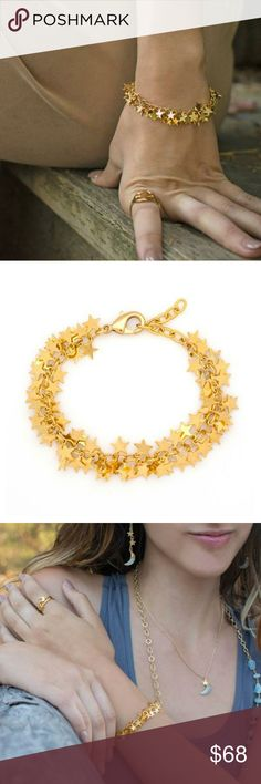 """Gold Stardust Bracelet A sparkly chain bracelet covered in Star Charms!18 K Gold Plated Brass. Lobster clasp closure.Measures 6"""" long, with 2"""" adjustor.Handcrafted. Jewelry Bracelets"""