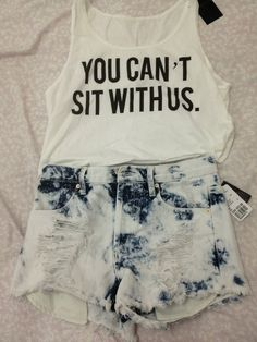 Mean girls white crop top acid washed shorts blue tank top I Love Fashion, Teen Fashion, Fashion Outfits, Outfits For Teens, Summer Outfits, Cute Outfits, Looks Style, Style Me, Teen Crop Tops