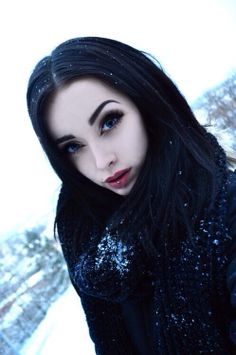 black hair blue eyes