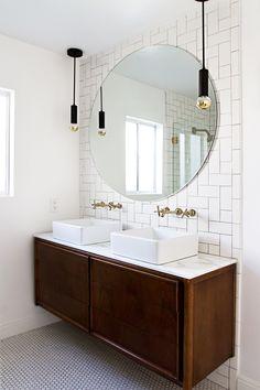 vintage credenza vanity, round mirror // bathroom update // smitten studio// love the backsplash Budget Bathroom, Bathroom Renos, Master Bathroom, Bathroom Ideas, Bathroom Mirrors, Bathroom Designs, Bathroom Interior, Bathroom Inspo, Bathroom Renovations