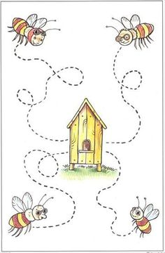 Crafts,Actvities and Worksheets for Preschool,Toddler and Kindergarten.Lots of worksheets and coloring pages. Preschool Writing, Preschool Themes, Tracing Worksheets, Preschool Worksheets, Math For Kids, Crafts For Kids, Handwriting Activities, Pre Writing, Bee Theme